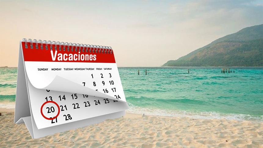 Calendario de vacaciones del trabajador e imagen de playa